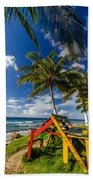 Colorful Bench On Caribbean Coast Beach Towel
