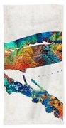 Colorful Bird Art - Sweet Song - By Sharon Cummings Beach Sheet