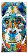 Colorful Chimp Art - Monkey Business - By Sharon Cummings Beach Towel