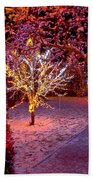 Colorful Christmas Lights On Trees Beach Towel