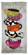 Colorful Coffee Cups Mugs Hot Cuppa Stacked I By Romi And Megan Beach Towel by Megan Duncanson