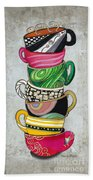 Colorful Coffee Cups Mugs Hot Cuppa Stacked II By Romi And Megan Beach Towel