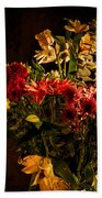 Colorful Cut Flowers In A Vase Beach Towel