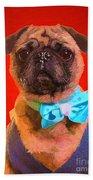 Colorful Dapper Pug Beach Towel