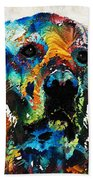 Colorful Dog Art - Heart And Soul - By Sharon Cummings Beach Towel