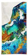 Colorful Dog Art - Loving Eyes - By Sharon Cummings  Beach Towel