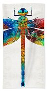Colorful Dragonfly Art By Sharon Cummings Beach Sheet
