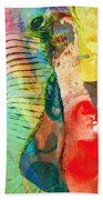 Colorful Elephant Art By Sharon Cummings Beach Towel by Sharon Cummings