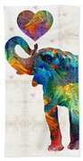 Colorful Elephant Art - Elovephant - By Sharon Cummings Beach Towel