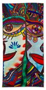 Colorful Faces Gazing - Ink Abstract Faces Beach Towel