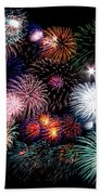 Colorful Fireworks Of Various Colors In Night Sky Beach Towel