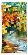 Colorful Forest - Palette Knife Oil Painting On Canvas By Leonid Afremov Beach Towel