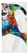Colorful Goat Art By Sharon Cummings Beach Towel