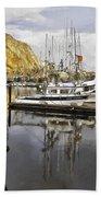 Colorful Harbor II Impasto Beach Towel