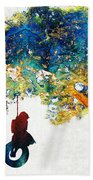 Colorful Landscape Art - The Dreaming Tree - By Sharon Cummings Beach Towel