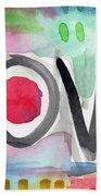 Colorful Love- Painting Beach Towel by Linda Woods