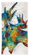 Colorful Moose Art - Confetti - By Sharon Cummings Beach Sheet