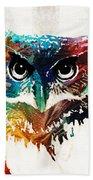 Colorful Owl Art - Wise Guy - By Sharon Cummings Beach Sheet