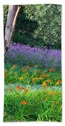 Colorful Park With Flowers Beach Towel