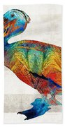 Colorful Pelican Art By Sharon Cummings Beach Sheet