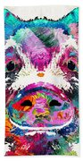 Colorful Pig Art - Squeal Appeal - By Sharon Cummings Beach Sheet