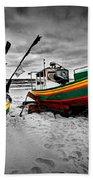 Colorful Retro Ship Boats On The Beach Beach Towel
