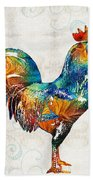Colorful Rooster Art By Sharon Cummings Beach Sheet