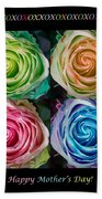Colorful Rose Spirals Happy Mothers Day Hugs And Kissed Beach Towel