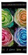 Colorful Rose Spirals With Love Beach Towel