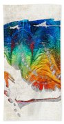 Colorful Sea Turtle By Sharon Cummings Beach Towel