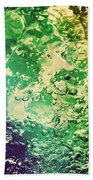 Colorful Splashing Pouring Water With Bubbles Beach Towel