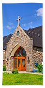Colorful Stone Catholic Church In North Bay Of Lake Nipissing-on Beach Towel