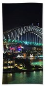 Colorful Sydney Harbour Bridge By Night 3 Beach Towel