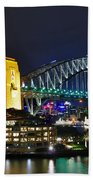 Colorful Sydney Harbour Bridge By Night Beach Towel
