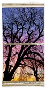 Colorful Tree White Farm House Window Portrait View Beach Towel