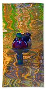 Colorful World Of Wood Duck Beach Towel