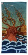 Colossal Octopus Attacking Ship 1801 Beach Towel
