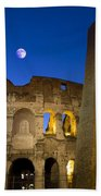Colosseum And The Moon Beach Towel