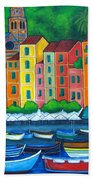 Colours Of Portofino Beach Towel by Lisa  Lorenz