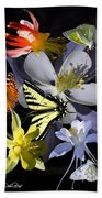 Columbine And Butterfly Collage Beach Towel