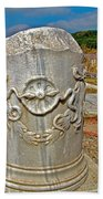 Column Along Sacred Road In Pergamum-turkey  Beach Towel