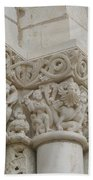 Column Relief Abbey Fontevraud  Beach Towel