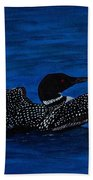 Common Loon Preening Beach Towel