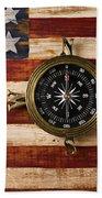 Compass On Wooden Folk Art Flag Beach Towel