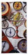 Compasses And Globe Illustration Beach Towel