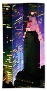 Concrete Canyons Of Manhattan At Night  Beach Towel