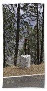 Concrete Pillar On A Highway Beach Towel