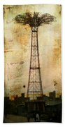 Coney Island Eiffel Tower Beach Towel