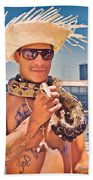 Coney Island Snake Man Beach Towel