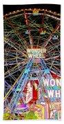 Coney Island's Famous Amusement Park And Wonder Wheel Beach Towel